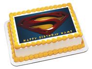 SUPERMAN LOGO Edible Birthday Cake Topper OR Cupcake Topper, Decor