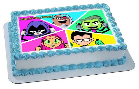 Teen Titans Go 4 Edible Birthday Cake Topper