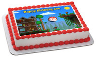 Terraria 1 Edible Birthday Cake Topper OR Cupcake Topper, Decor