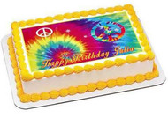 Tie Dye Peace Edible Birthday Cake Topper OR Cupcake Topper, Decor