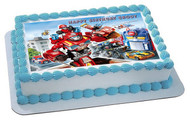 Transformers Rescue Edible Birthday Cake Topper OR Cupcake Topper, Decor