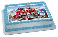 Transformers Rescue Edible Birthday Cake Topper OR Cupcake Topper, Decor