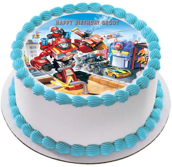 Strange Transformers Rescue Bots A4 Icing Cake Topper Sugar Flowers Funny Birthday Cards Online Alyptdamsfinfo