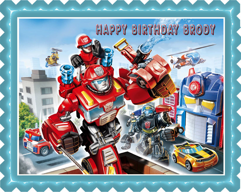 Transformers Rescue Edible Birthday Cake Topper