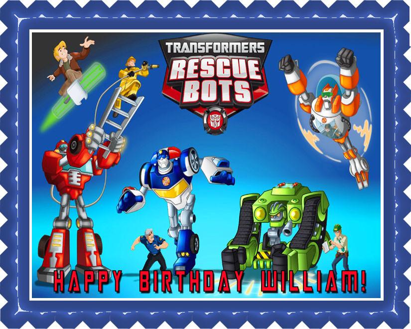 Transformers Rescue Bots 1 Edible Birthday Cake Topper
