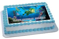 Turtles Tale Edible Birthday Cake Topper OR Cupcake Topper, Decor