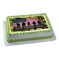 U.S. ARMY Edible Birthday Cake Topper OR Cupcake Topper, Decor