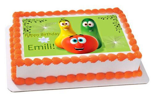 Wondrous Veggie Tales 5 Edible Birthday Cake Topper Personalised Birthday Cards Veneteletsinfo