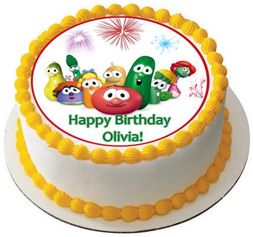 Pleasing Veggie Tales 6 Edible Birthday Cake Topper Personalised Birthday Cards Veneteletsinfo