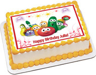 VEGGIE TALES 6 Edible Birthday Cake Topper OR Cupcake Topper, Decor