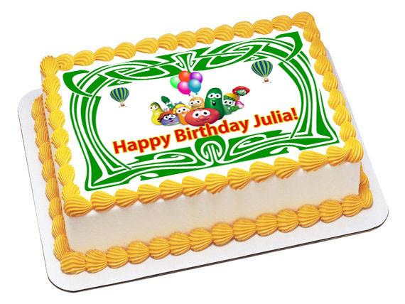 Excellent Veggie Tales Green Edible Birthday Cake Topper Personalised Birthday Cards Veneteletsinfo
