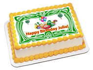 Veggie Tales Green Edible Birthday Cake Topper OR Cupcake Topper, Decor