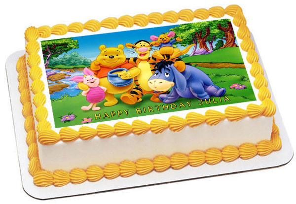 Fantastic Edible Cake Topper Or Cupcake Topper 2 Winnie Pooh Decor Party Funny Birthday Cards Online Necthendildamsfinfo