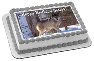 Wolf Edible Birthday Cake Topper OR Cupcake Topper, Decor