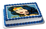 WONDER WOMAN Edible Birthday Cake Topper OR Cupcake Topper, Decor