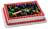 New Year Edible Birthday Cake Topper OR Cupcake Topper, Decor