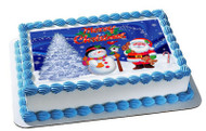 Christmas 8 Edible Birthday Cake Topper OR Cupcake Topper, Decor
