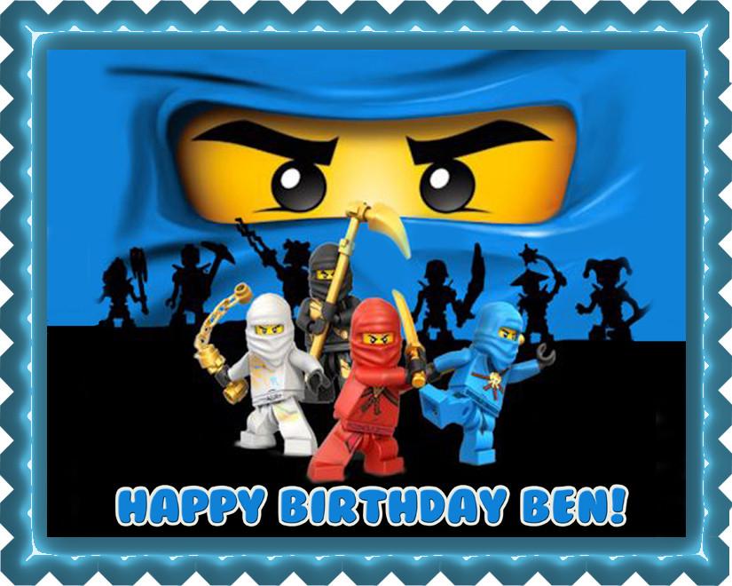 Ninjago Blue Ninja Blue Face Edible Birthday Cake Topper