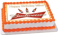 Beer Budweiser Edible Birthday Cake Topper OR Cupcake Topper, Decor