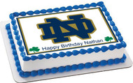 Notre Dame Fighting Irish Edible Birthday Cake Topper OR Cupcake Topper, Decor