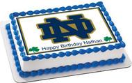 Notre Dame Fighting Irish Edible Birthday Cake Topper OR Cupcake Topper, Decor