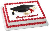 Graduation Edible Birthday Cake Topper OR Cupcake Topper, Decor