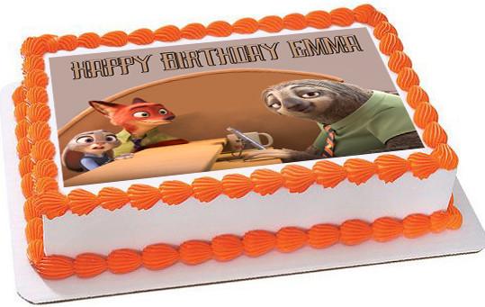 Zootopia 3 Edible Birthday Cake Topper