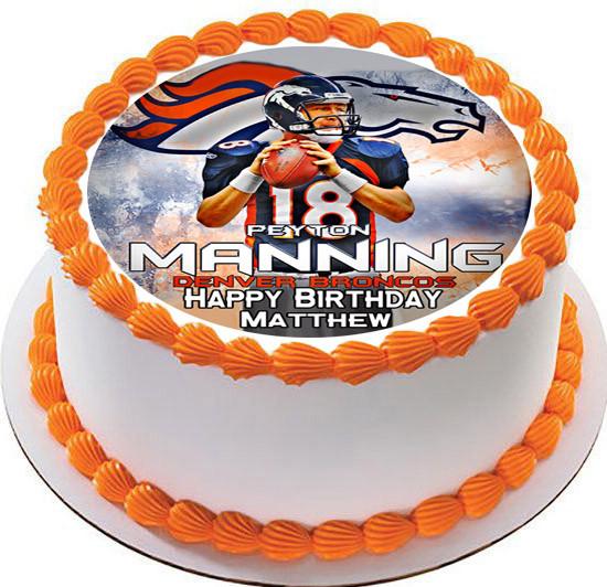 Remarkable Peyton Manning Denver Broncos Edible Birthday Cake Topper Birthday Cards Printable Trancafe Filternl