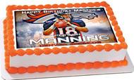 Peyton Manning Denver Broncos Edible Birthday Cake Topper OR Cupcake Topper, Decor