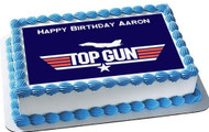 Top Gun Edible Birthday Cake Topper OR Cupcake Topper, Decor
