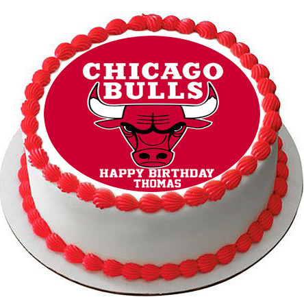 Awesome Chicago Bulls Edible Birthday Cake Topper Personalised Birthday Cards Sponlily Jamesorg