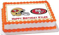 San Francisco 49ers Edible Birthday Cake Topper OR Cupcake Topper, Decor