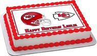 Kansas City Chiefs Edible Birthday Cake Topper OR Cupcake Topper, Decor