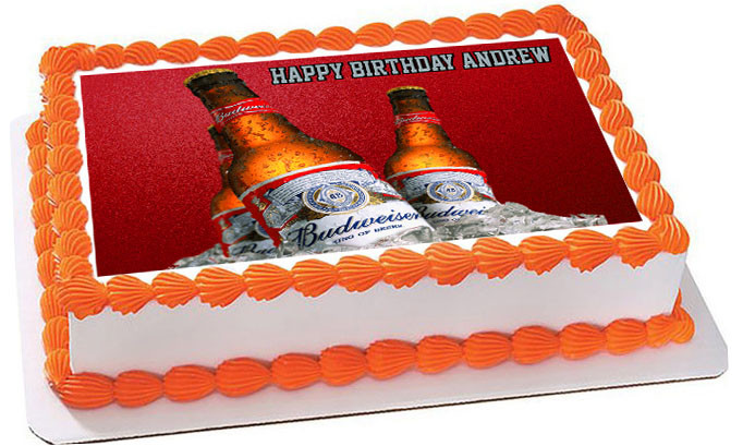 Fabulous Beer Bottles Budweiser 2 Edible Birthday Cake Topper Personalised Birthday Cards Epsylily Jamesorg