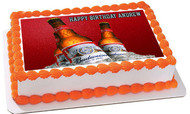 Beer Bottles Budweiser 2 Edible Birthday Cake Topper OR Cupcake Topper, Decor