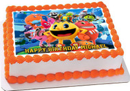 Pac-Man and the Ghostly Adventures Edible Birthday Cake Topper OR Cupcake Topper, Decor