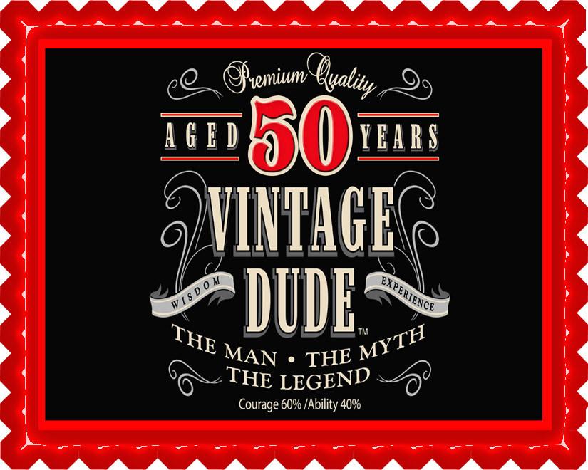 Vintage Dude 50th Edible Birthday Cake Topper OR Cupcake Decor Price 795 Image 1