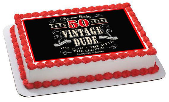 Vintage Dude 50th Green Edible Birthday Cake Topper