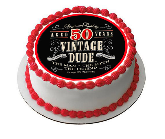 Vintage Dude 50th Green Edible Birthday Cake Topper