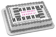 Piano Keys Edible Birthday Cake Topper OR Cupcake Topper, Decor