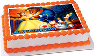 Beauty and the Beast Belle Edible Birthday Cake Topper OR Cupcake Topper, Decor