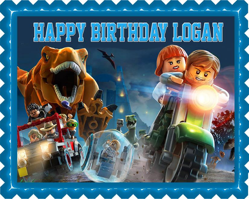 Jurassic World Dinosaur Lego Edible Birthday Cake Topper OR Cupcake Decor Price 795 Image 1