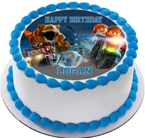 Jurassic World Dinosaur Lego Edible Birthday Cake Topper