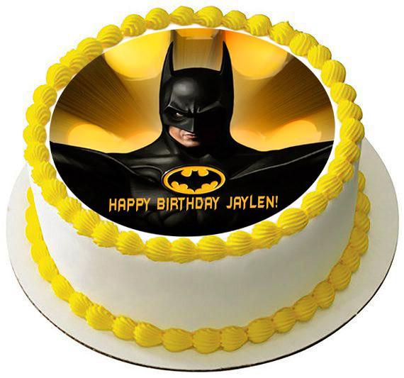 Batman Yellow Edible Birthday Cake Topper