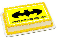 Batman Yellow Logo Edible Birthday Cake Topper OR Cupcake Topper, Decor