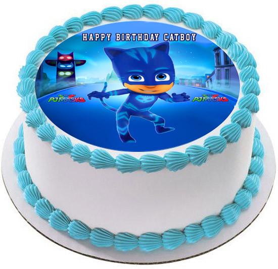 Pleasant Cat Boy Edible Birthday Cake Topper Edible Cake Image Funny Birthday Cards Online Alyptdamsfinfo
