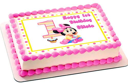 Astounding Baby Minnie Mouse 1St Birthday Edible Birthday Cake Topper Birthday Cards Printable Benkemecafe Filternl