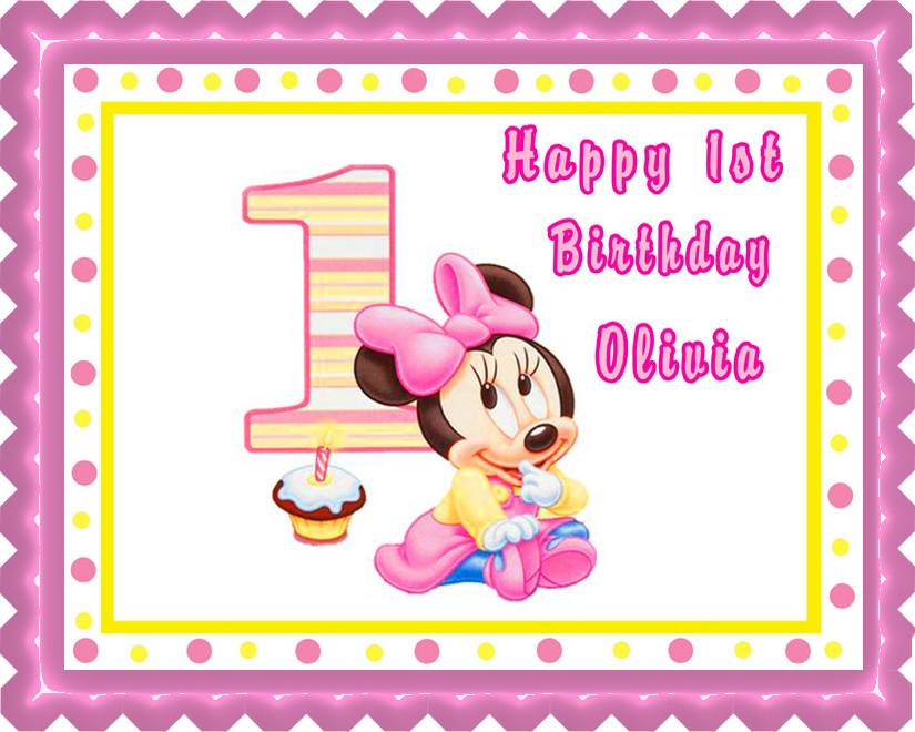 Surprising Baby Minnie Mouse 1St Birthday Edible Birthday Cake Topper Funny Birthday Cards Online Necthendildamsfinfo