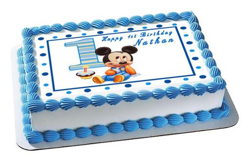 Marvelous Baby Mickey Mouse 1St Birthday Edible Birthday Cake Topper Funny Birthday Cards Online Alyptdamsfinfo