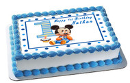 BABY MICKEY MOUSE 1st Birthday Edible Birthday Cake Topper OR Cupcake Topper, Decor